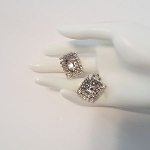 A pair of exquisite rhinestone clip earrings